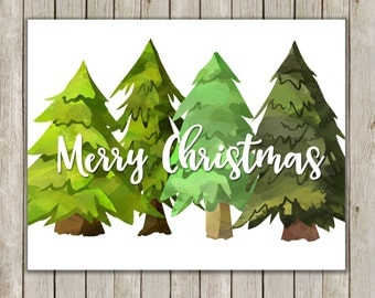 8x10 and 11x14 Christmas Tree Printable Art, Merry Christmas, Typography Art, Watercolor Art Poster, Holiday Decor, Instant Download