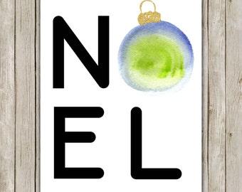 8x10 Christmas Printable, Noel Art Print, Typography Print, Digital Art Print, Ornament Holiday Decor, Instant Download