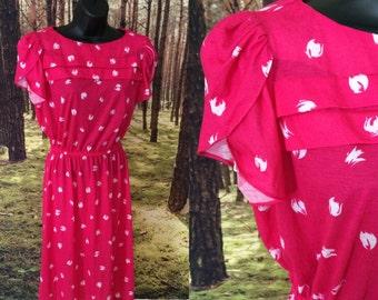 90s Magenta - Pink Cotton Jersey Pullover Dress / Medium