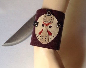 Friday the 13th/Jason Mask cuff bracelet/Jason Mask wristband/horror fans jewelry/Goth bracelet/ideal gift for cinema fans/Goth Accessory