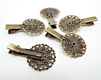 Bronze Hair Clips, 5 or 10, Cabochon Clips, 25mm Filigree Base, Hair Accessories, Bronze Clip, Cabochon Hair Clips, Length 40mm, UK Seller