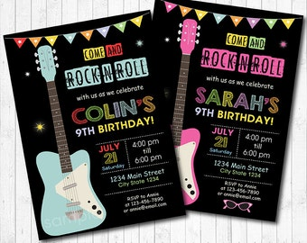 Guitar Invitation, Rock n Roll Invitation, Guitar Invite, Rock Invitation, Rock Star invitation, printable