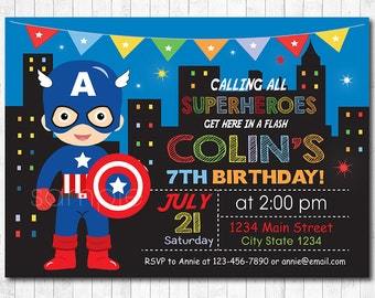 Captain America Invitation, Superhero Invitation, Captain America Birthday Invitation, Captain America Invite, Superhero Birthday, printable