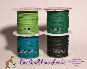3mm Kangaroo Leather lace GREENS,  sold by the yard