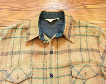 Vintage 50s Sport Togs Flannel Shirt Jacket Orange Brown Green Medium