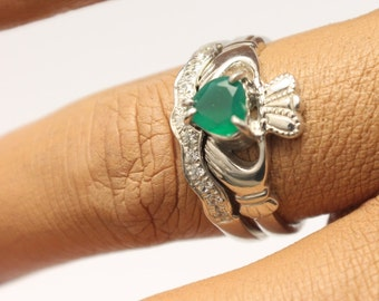 Green Agate Irish claddagh ring set with matching band.