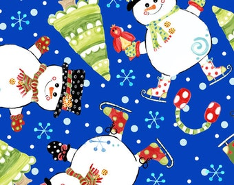 Christmas Fabric-White Snowmen and Snowflakes on Royal Blue Fabric, Christmas Tree Fabric, Cotton Yardage, Fat Quarter, Half or By The Yard
