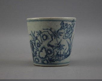 old chinese rare collect Ming dyn Wanli blue and white porcelain tea cup 002