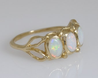 Opal Ring ,  Opal Gold Ring , 14k Solid Gold Ring , Solid Gold Opal Ring , Opal Leaf Ring, Gold And Opal Ring , Vintage Style Opal Ring