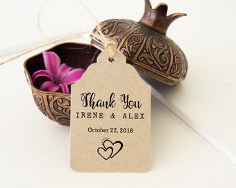 Rustic Wedding Favor Tags, Thank You Tags | Small Thank You Tags, 24 Rustic Thank You Tags