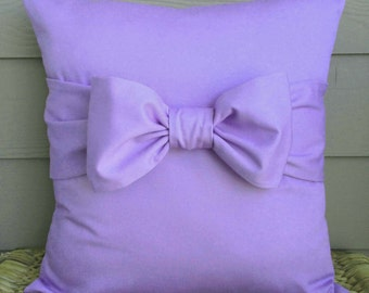 """Purple Pillow Cover. Bow Pillow Cover. Decorative Pillow Cover. 18"""" x 18""""."""