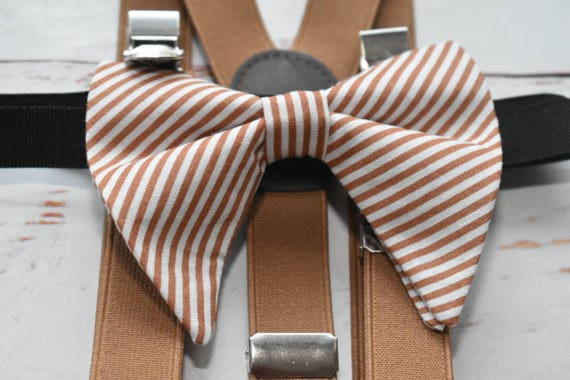 Caramel Brown and white  stripe butterfly / poppy Bow Tie  for ĺBĺaby, Toddlers and Boys (Kids Bow Ties) with Braces / Suspenders