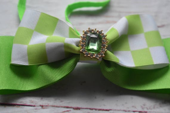 Green and white bow - Baby / Toddler / Girls / Kids Headband / Hairband / Hair bow / Barrette / Hairclip