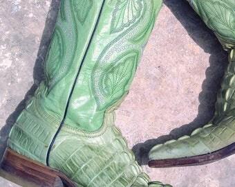 Unique vintage mint green cowboy boots
