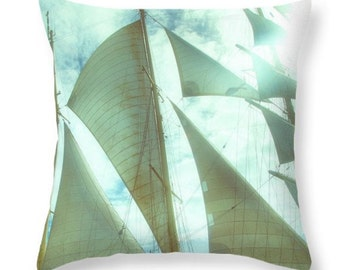 Love Sailing Indoor Accent Pillow. Blue Sails in the Air Seat Cushion. Outdoor Yacht Seat Cushion. Airy Sailing  Throw Pillow. Blue Pillow.