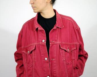 Vintage 90s LEVI'S Jean Jacket Red Denim Bomber Style Crop Men Mens Women Womens L XL Large