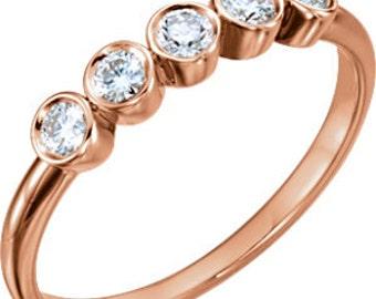 White Sapphire 14K Gold Band, Bezel Set 5 Stone Ring