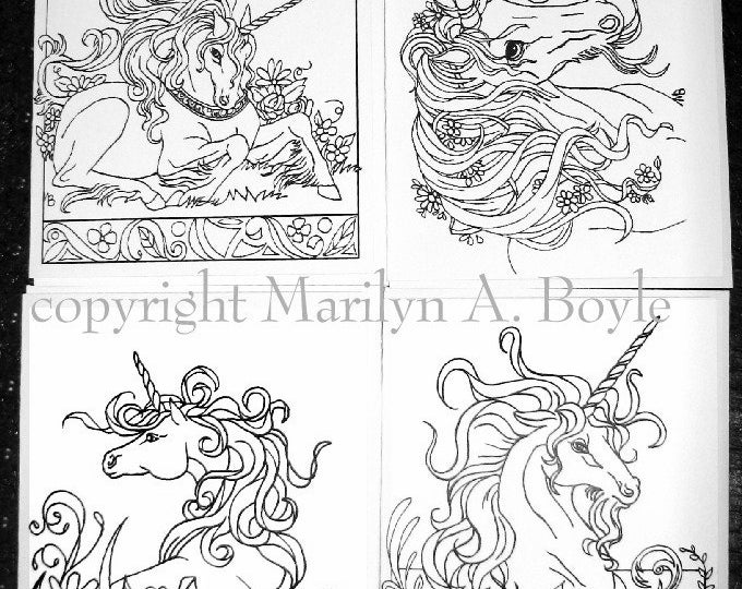 COLORING CARDS - UNICORNS; fantasy, great for all occasions, set of four, from original art, for adult or child,