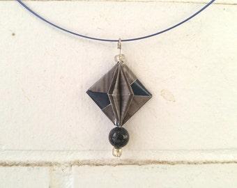 Gray & blue necklace | Eco-friendly fashion | Origami jewelry | CLEARANCE | Modulo
