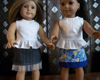 "Handmade for 18"" Doll -Pinstriped A-line Skirt or Flowered Skirt - Will fit any Standard 18"" Doll"