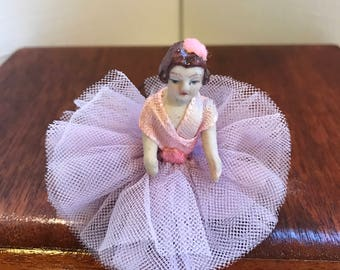Tiny Vintage Bisque Boudoir Doll in Original Tulle and Ribbon Dress