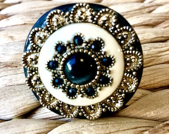 Round Black and Gold statement ring