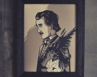 Edgar Allan Poe - Wall Decor Art Print Poster by Stephen Willey of Eyes On Fire