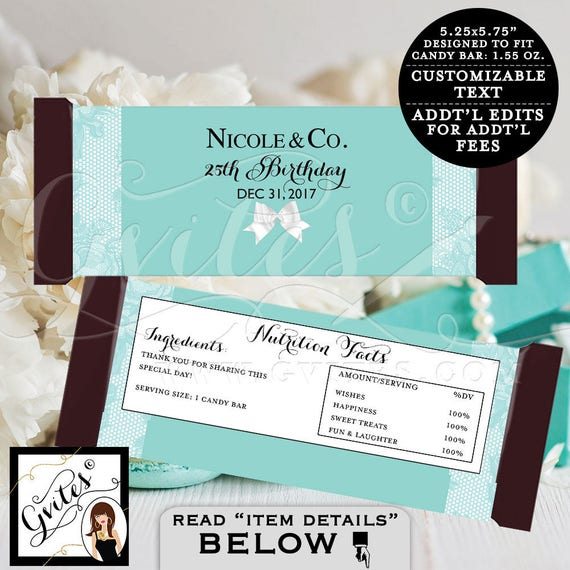 Candy Bar Wrapper Birthday wrappers, chocolate bar candy labels, favors gifts, white bow blue themed party printables, 2-Per/Sheet