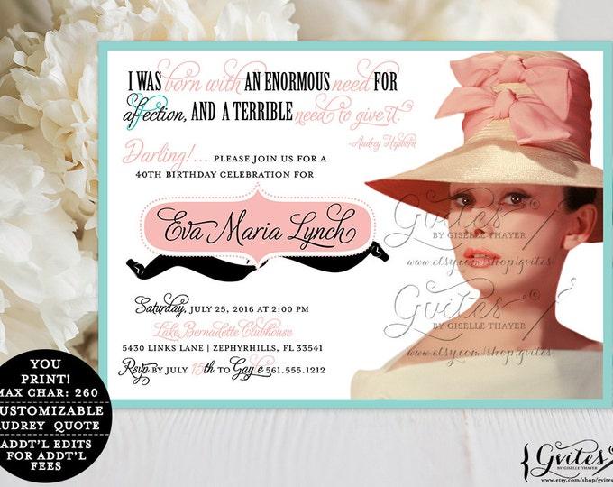 Audrey Hepburn 40th birthday invitations, printable breakfast at and co blue theme inspired invites, digital invites, elegant, Gvites