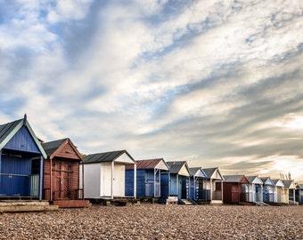 Herne Bay Beach Huts Big Sky Photographic Print 18x12 inch Kent coastline