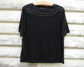 90s Vintage Black Beaded T Shirt Gold Beads Tee Embellished Grunge Slouchy Loose Fit Top 1990s Vtg Size M-L