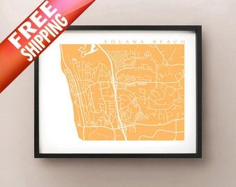Solana Beach Map - California Poster Print
