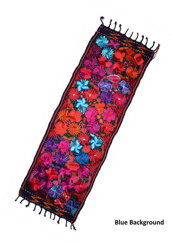 Table Runner Guatemalan Embroidered Flowers Patterns Fabric