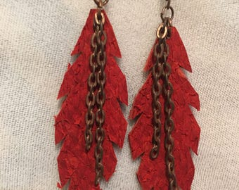 Feather Salmon Leather Earrings- Red