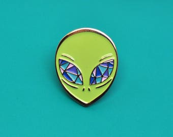 Alien enamel pin / Crystal eyes / X Files / Sci Fi / UFO / Green and pastel