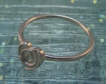 Sterling Silver Heart Swirl Ring. Mothers Day Jewellery. Handmade Gift Ideas. Made to order.