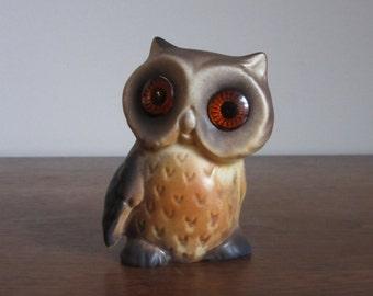 Vintage Roselane Owl, California, Sparkler Eyes, Matte Brown & Orange, Pottery Owl Figurine, Retro Owls,Owl Kitsch,Roselane Owl,1970's Decor