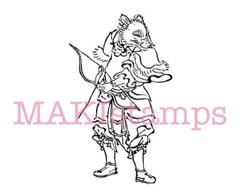 Rubber stamp astrology / boar as a Samurai / Asian rubber stamp (170303)