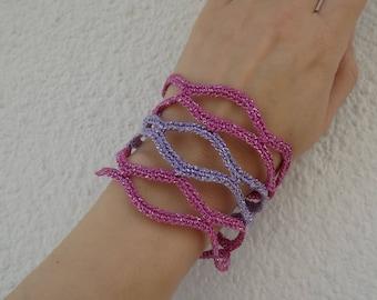 Colorful Striped Lozenge Net Crochet Bracelet Pattern, Crochet Jewelry Pattern, Original Crochet Bracelet Pattern, Crochet Tutorial