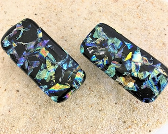 Cabinet Pulls or Drawer Knobs Rectangle Fused Dichroic Art Glass
