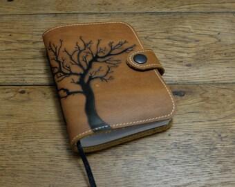 Leather notebook, leather journal, leather sketchbook, artist's sketchbook, winter tree design, dream journal
