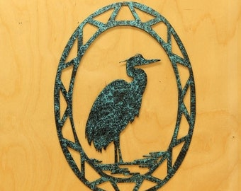 Heron Contemporary Oval Wall Hanging