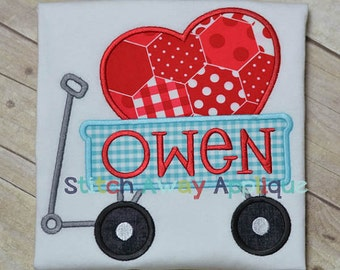 Personalized Valentine's Wagon with Heart Applique Shirt or Onesie Girl or Boy