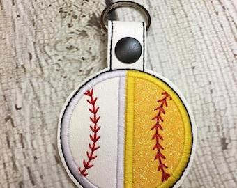 SPLIT Baseball Softball Appliqued Ball Key Fob -  In The Hoop - DIGITAL Embroidery Design