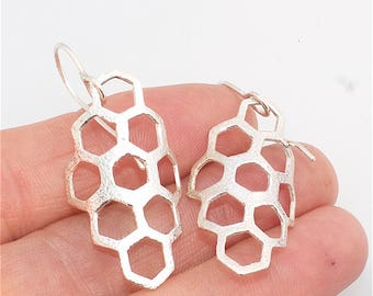 Handcrafted Organic Hexagon Honeycomb Earrings Sterling Silver or Bronze
