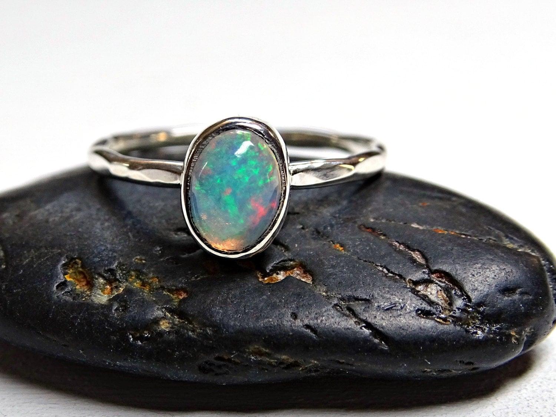 opal engagement ring delicate opal ring silver hammered. Black Bedroom Furniture Sets. Home Design Ideas