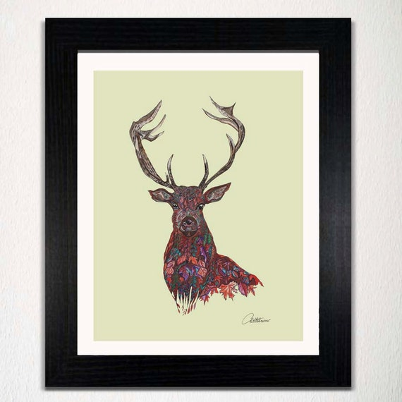 Wall Art Of Deer : Stag wall art decor picture red deer print