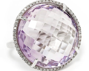 Large Amethyst Halo Ring with Diamonds in 14kt White Gold 18.28ctw