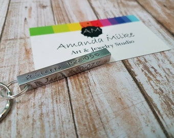 Family personalised Hand stamped bar keychain with 4 children's names and dates