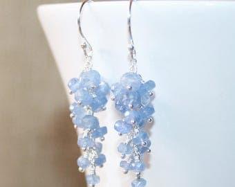 Natural Burmese Light Blue Sapphire Long Drop Earrings, Sterling Silver, Wire Wrapped Gemstone Earrings, September Birthstone